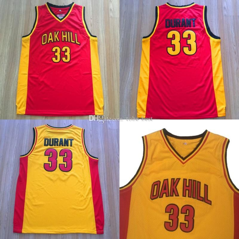 d7e0d4349 2019 Cheap 33 Kevin Durant Oak Hill Jersey Men Yellow Red Color High School  College Durant Basketball Jerseys Breathable For Sport Fans Quality From  Tobe ...