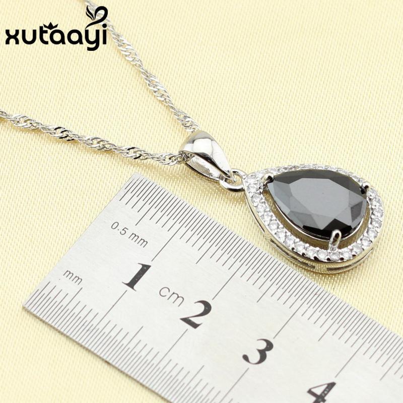 925 Серебряная капля воды свадебный комплект ювелирных изделий для женщин черный цирконий Белый CZ браслет серьги ожерелье кулон кольцо