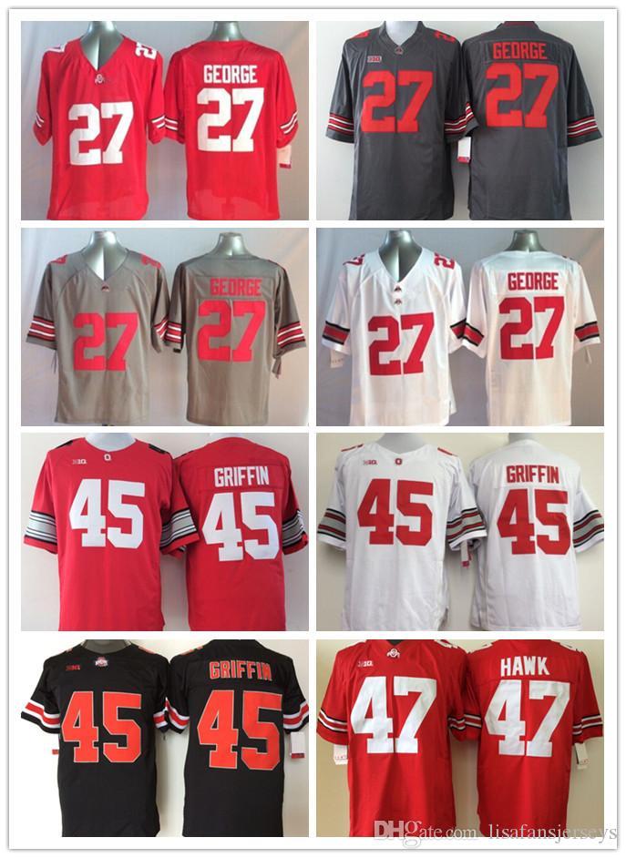 4cddcb09a55 Ohio State Buckeyes NCAA Jerseys Mens 27 Eddie George 45 Archie ...