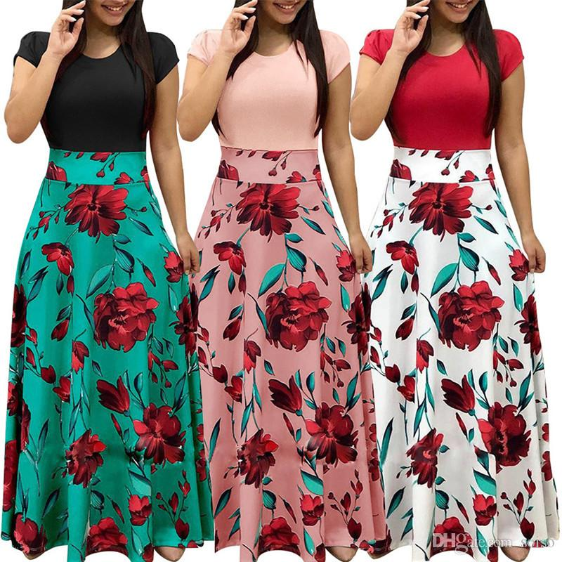 5a2ca6f9ed Women Floral Slim Print Short Sleeve Boho Dress Evening Gown Party Long  Maxi Dress Summer Sundress Women's Dress Sundress Dresses fashion