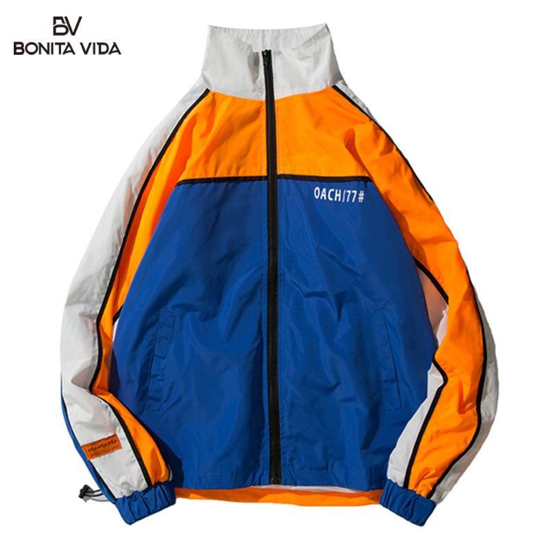 b976f14745dc04 Großhandel BONITA VIDA Windbreaker Casual Hip Hop Jacken Männer 2019 Farbe  Blockieren Reißverschluss Trainingsanzug Patchwork Herren Jacken Und Mäntel  ...