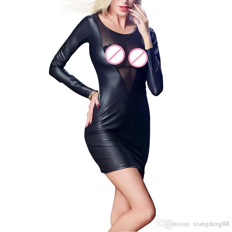 Sexy Wetlook Bodycon Party Faux Leather Dress Women Long Sleeve Mini Dresses Sheer Mesh Ladies Dress Sexy Backless Clubwear New