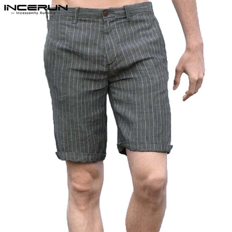 da0e2e2b5c119c INCERUN Men Striped Shorts Cotton Summer Streetwear Fitness Shorts Men  Leisure Breathable Bermuda Hombre Casual Plus Size