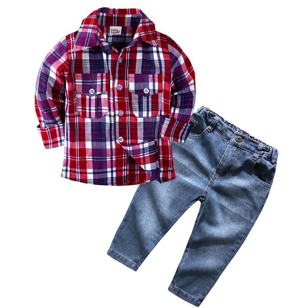 Acquista Primavera Autunno Bambini Set Di Abbigliamento Bambini Ragazzi  Ragazze Vestiti Set Camicia A Maniche Lunghe Plaid Top + Pantaloni Jeans  Jeans Abiti ... 1e676075fdd