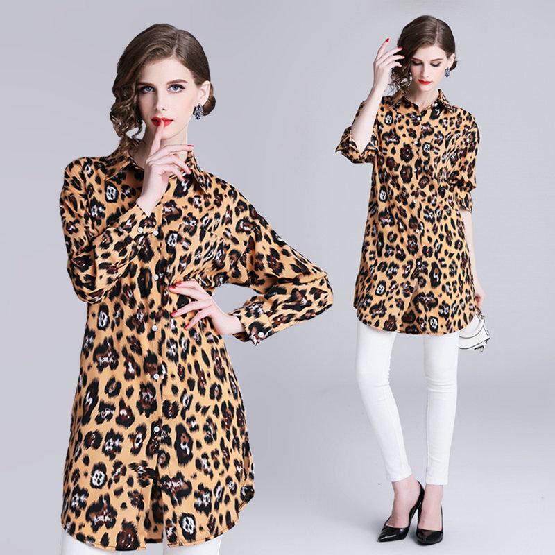 e97e4e871b713 Compre Leopardo Ocasional Camisa De Manga Larga Para Mujer Tops Moda Blusas  Mediados De Solapa Camisa De La Oficina Primavera Otoño Camisa Larga A   18.06 ...