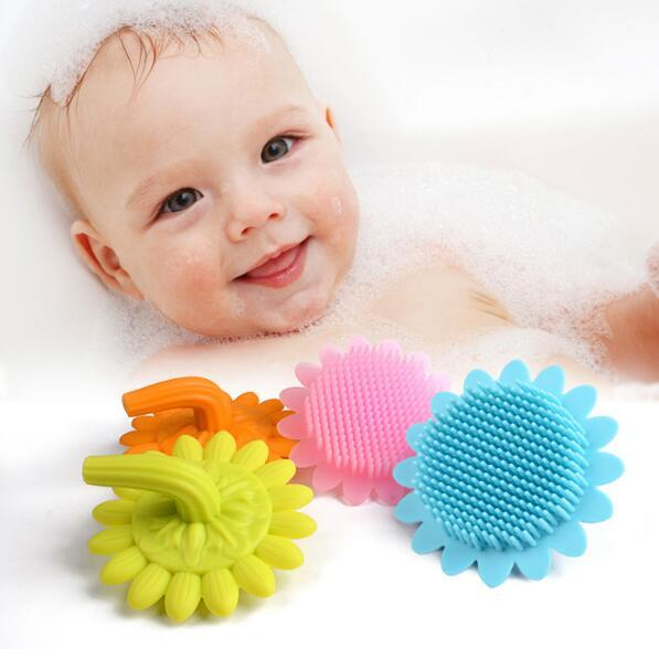 Baby Soft Silicone Bath Brush Shower Wash Hair Sunflower Starfish Shape Toys Face Cleaning Pad Skin SPA Scrub CCA10894 30pcs