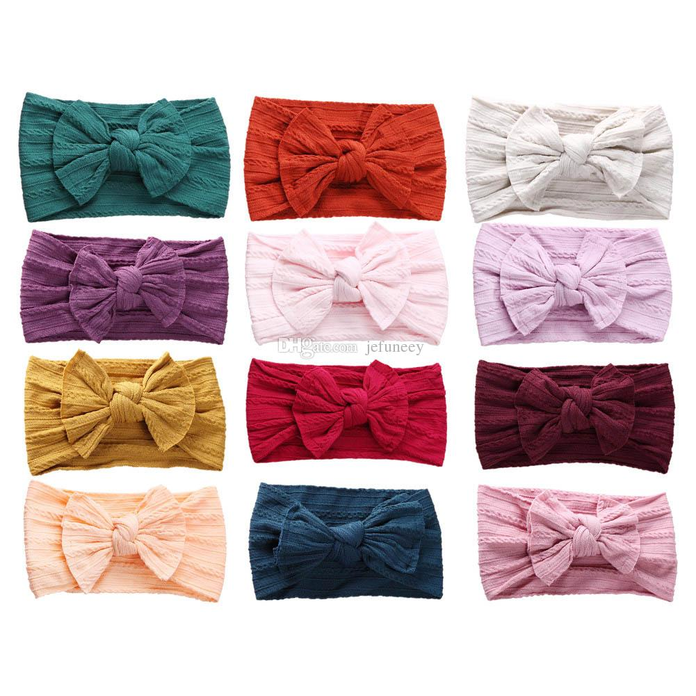 12 Colors Jacquard Rib Wide Nylon Infant Headband Knotted Bow Hair Band Baby Hair Accessory 12pcs/lot JFNY099B