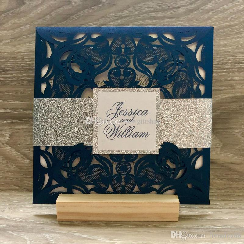 0c22b56dddf5 Navy Blue Silver Glitter Wedding Invitation With Band And Tag Customized  Printing Anniversary Party Invite Photo Wedding Invitations Cheap Themed  Wedding ...
