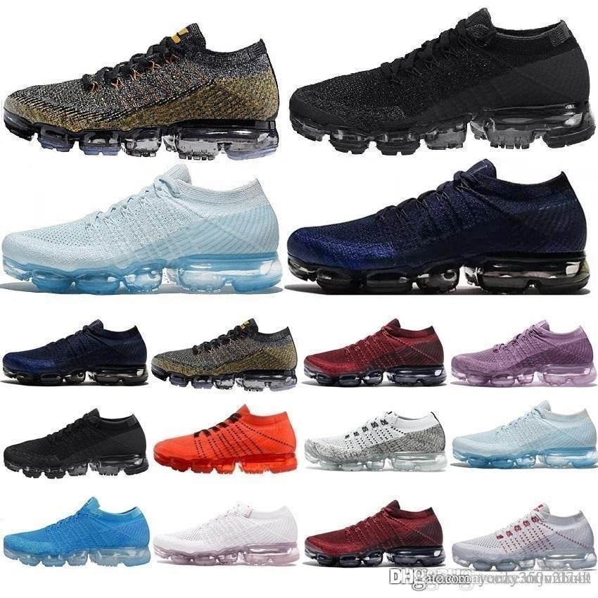 Nike Vapormax 2019 vente en gros nouvelle couleur 28 hommes femmes 2.0 2 platine noir blanc tennis baskets formateur Plyknit chaussures de sport