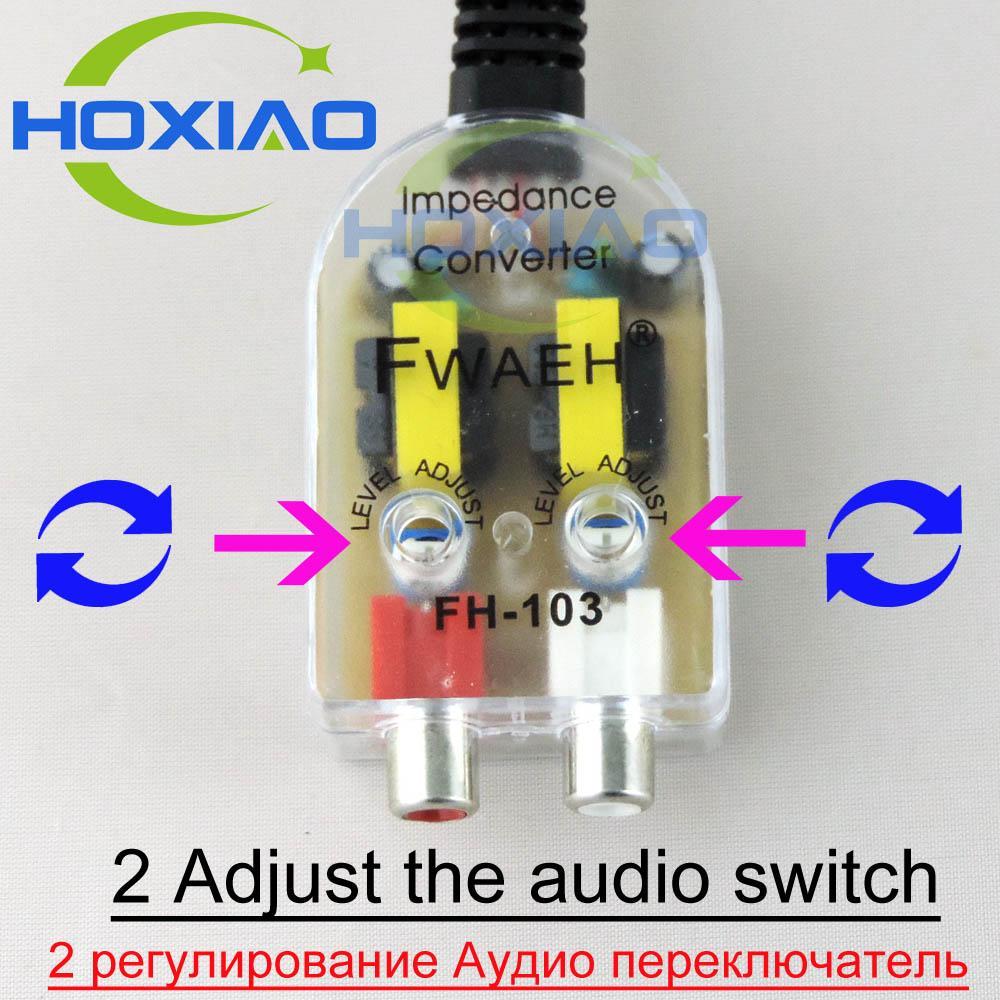 Car radio convertisseurs haut-parleur haut-bas amplificateur de voiture 12V rca utilisation de la ligne pour android DVD autoradio convertisseur d'impédance