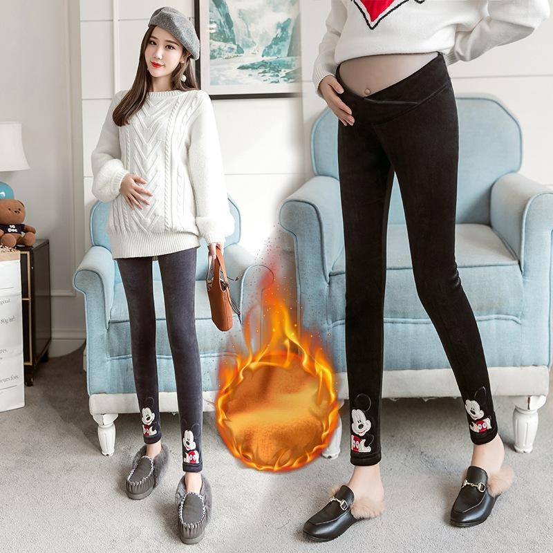 acfcbc587 Compre Mujer Embarazada Pantalones Invierno Engrosamiento Más Terciopelo  Cálido Algodón Pantalones Polar Cintura Baja Gruesa Embarazo Biblioteca  Dibujos ...