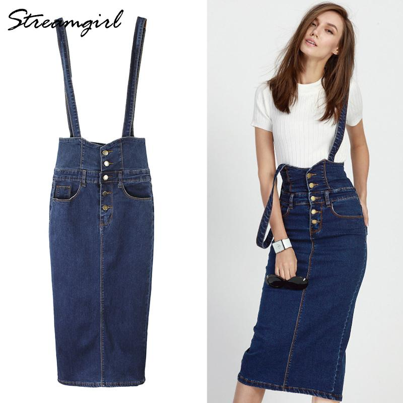 60c84a51f813ff 2019 Streamgirl Long Denim Skirt With Straps Women Button Jeans Skirts Plus  Size Long High Waist