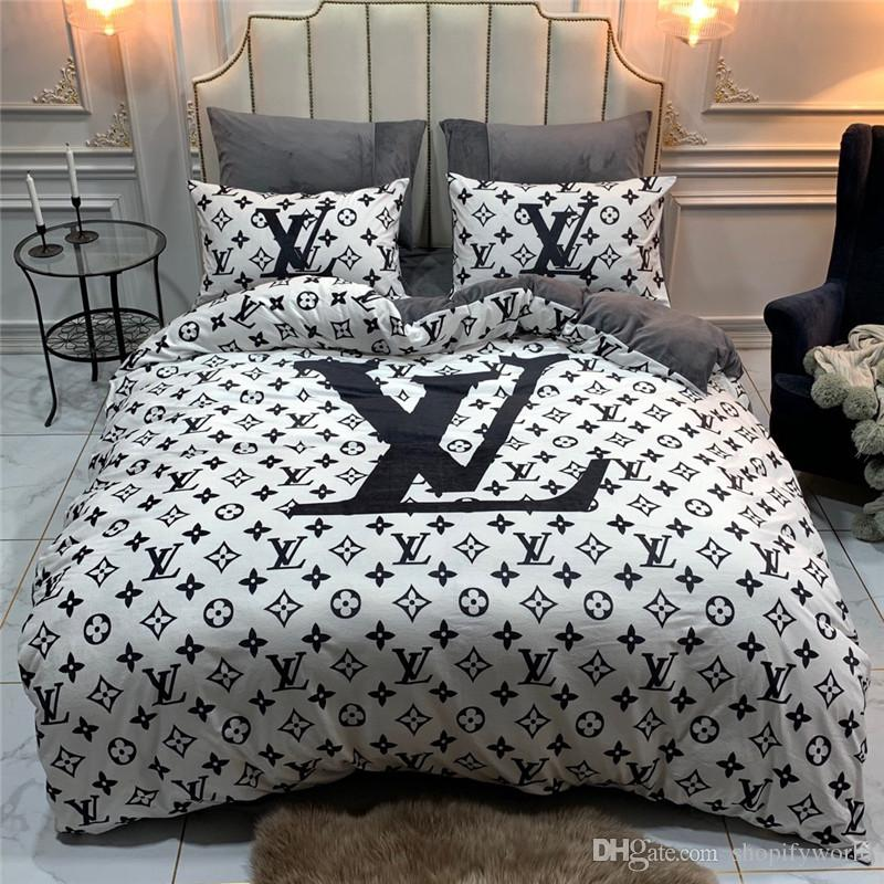 Hot Sale Letter Bedding Sets Europe and America Autumn And Winter Bedding Suit Fashion High Quality Comforter Cover Sets