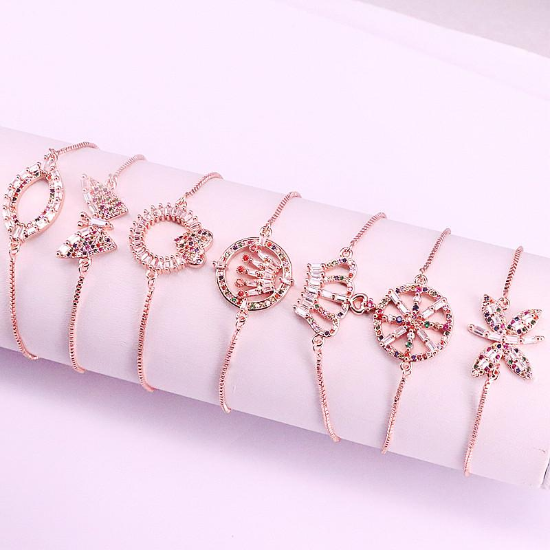 10Pcs Fashion Jewelry Colorful CZ Bracelets Slide Chain Crystal Zirconia Crowen insects Round Shaped Adjustable Bracelets