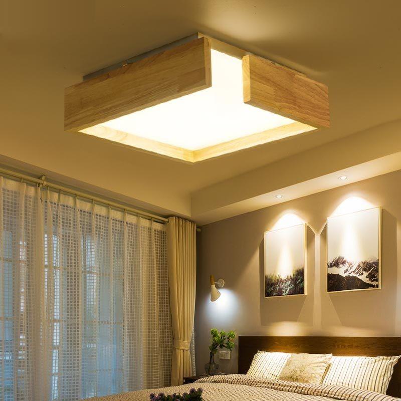 Nordic ceiling lighting personality art log Japanese style led creative  living room study room long bedroom solid wood lighting