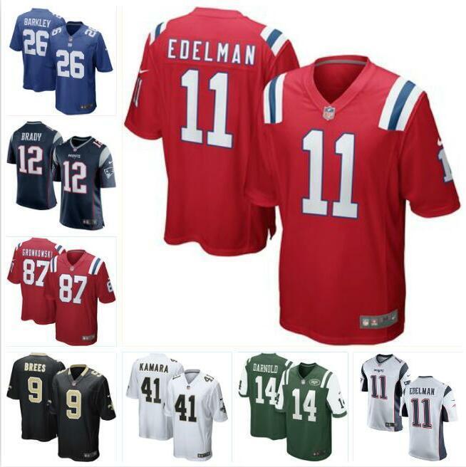 buy popular f9f71 a6f7e Saquon Barkley Tom Brady jersey Giants Drew Brees Sam Darnold Rob  Gronkowski Julian Edelman Alvin Kamara american football jerseys youth kid