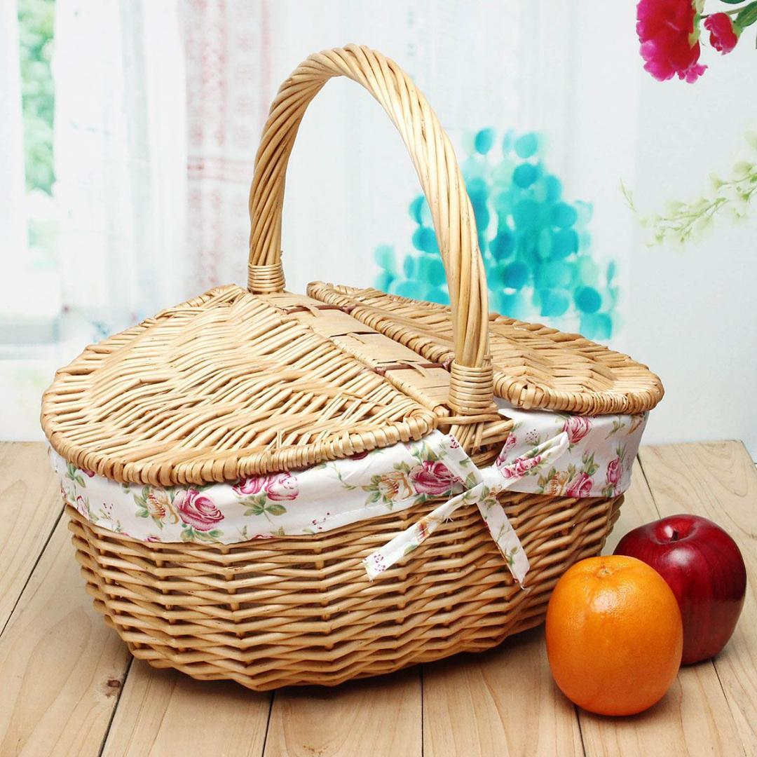 Wicker Willow Picnic Basket Hamper Shopping Vintage Basket With Lid And  Handle Up To 10KG For Camping For Shopping & Pets Swiss Backpack Laptop  Rucksack ...