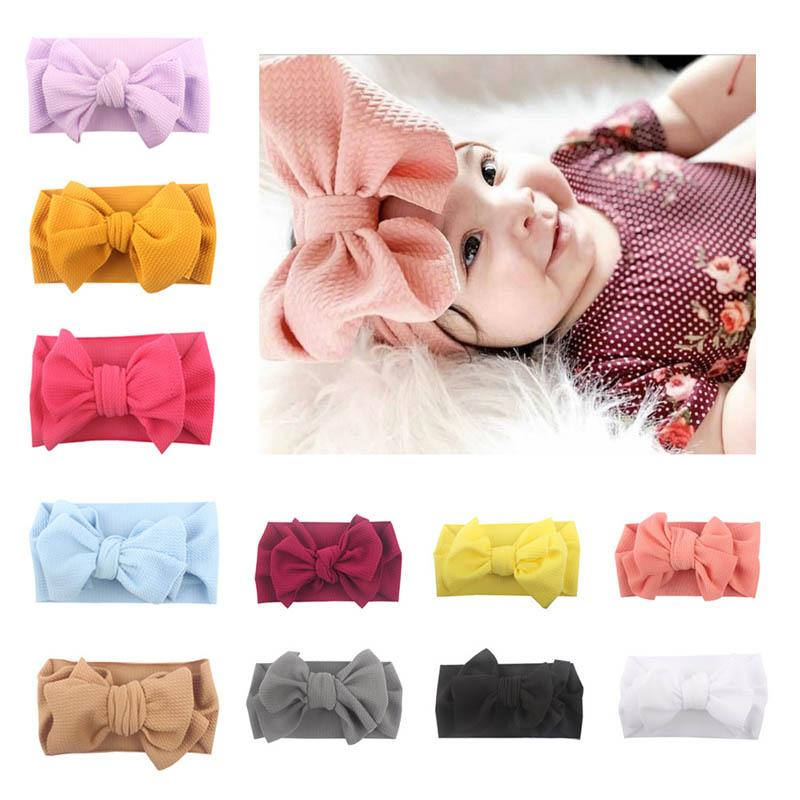 2019 new Fashion baby headbands large hair bows girls designer headband soft nylon designer headbands kids headband hair accessories A5129
