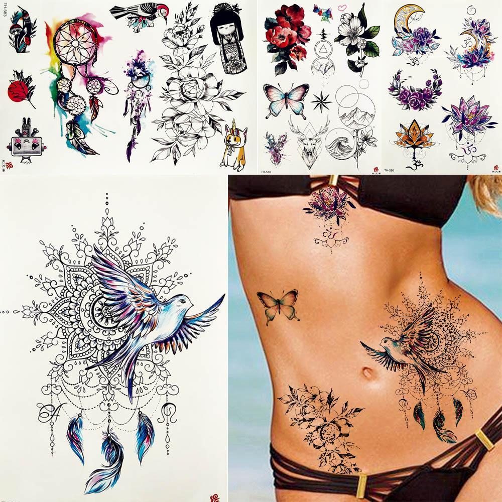 5400d5c2b8f58 Women Dreamcatcher Peace Pigeon Birds Tattoos Temporary Tribal Feather Body  Arm Waist Bracelet Flower Tatoo Fake Butterfly Tatoo Tattoos Artwork Tattoos  ...