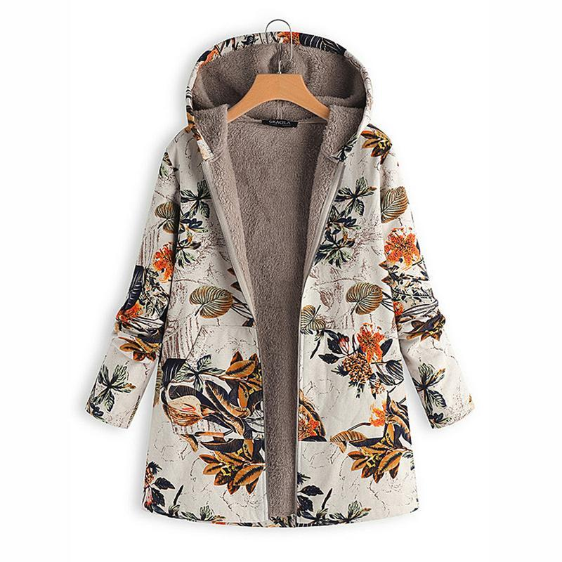 Women Vintage Digital Print High Quality Hoodie Sweater With Plush Jacket Warm Winter Slim Fit Zipper Closure M-3XL Large Size