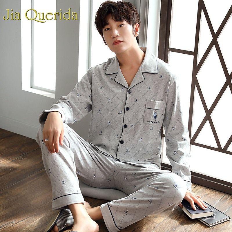 65a57988a21 J Q Male Sleeping Suit Fashion Home Wear Clothes 2019 Men s Pajamas Set  100% Cotton Sleepwear Lapel Printing Pajamas Man Pyjamas