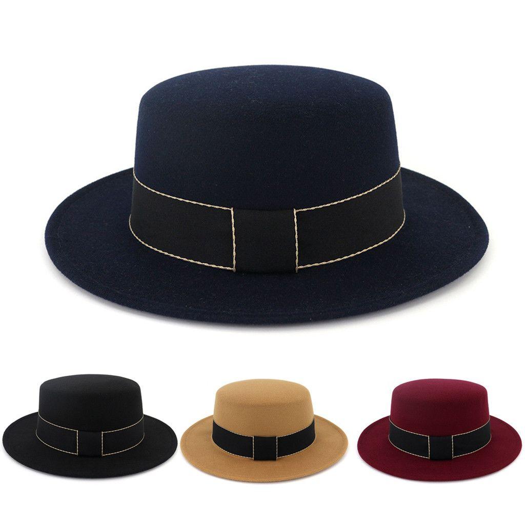 5da4e5e0de9e2 2019 Ponytail Beanie Wide Brim Men Fedora Hats Jazz Caps Flat Top Hat  Gorras Casquette Brief Style Hat Chapeu Mutsen Mannen From Kupaoliu