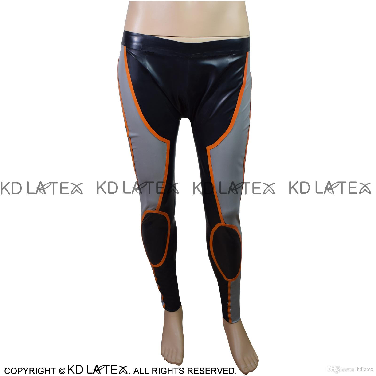 2019 Black With Silver Orange Trims Sporty Sexy Latex Leggings Fetish Bondage Rubber Pants Jeans Trousers 0001 From Hdlatex 87 24 Dhgate Com