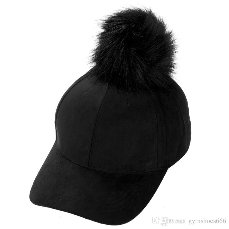 Women Faux Fox Fur Pompom Ball Suede Adjustable Baseball Cap Hip Hop Hat Winter Warm Single Ball Patchwork Baseball Hat Caps #220289