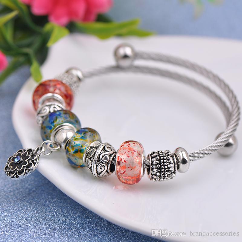 Titane Fil D'acier Charmes Bracelets Fit Pandora Femmes Verre De Murano Perles De Cristal Ajouré Cameo Bracelet Argent Fleur Pendentif Bijoux P159
