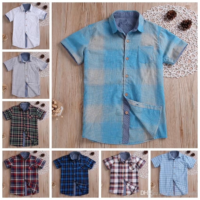Baby Boy Clothes Plaid Kids T Shirt Short Sleeve Children Tees Casual Lattice Boys Tops Summer Kids Clothing 8 Designs YW3240