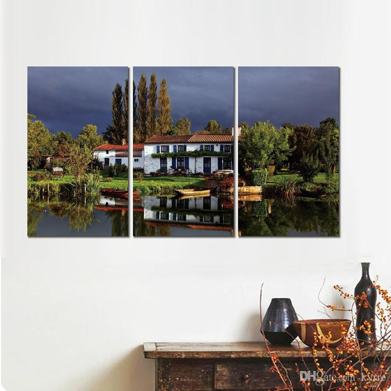 cottage house sky grass trees canvas print arts pictures for dining room decor