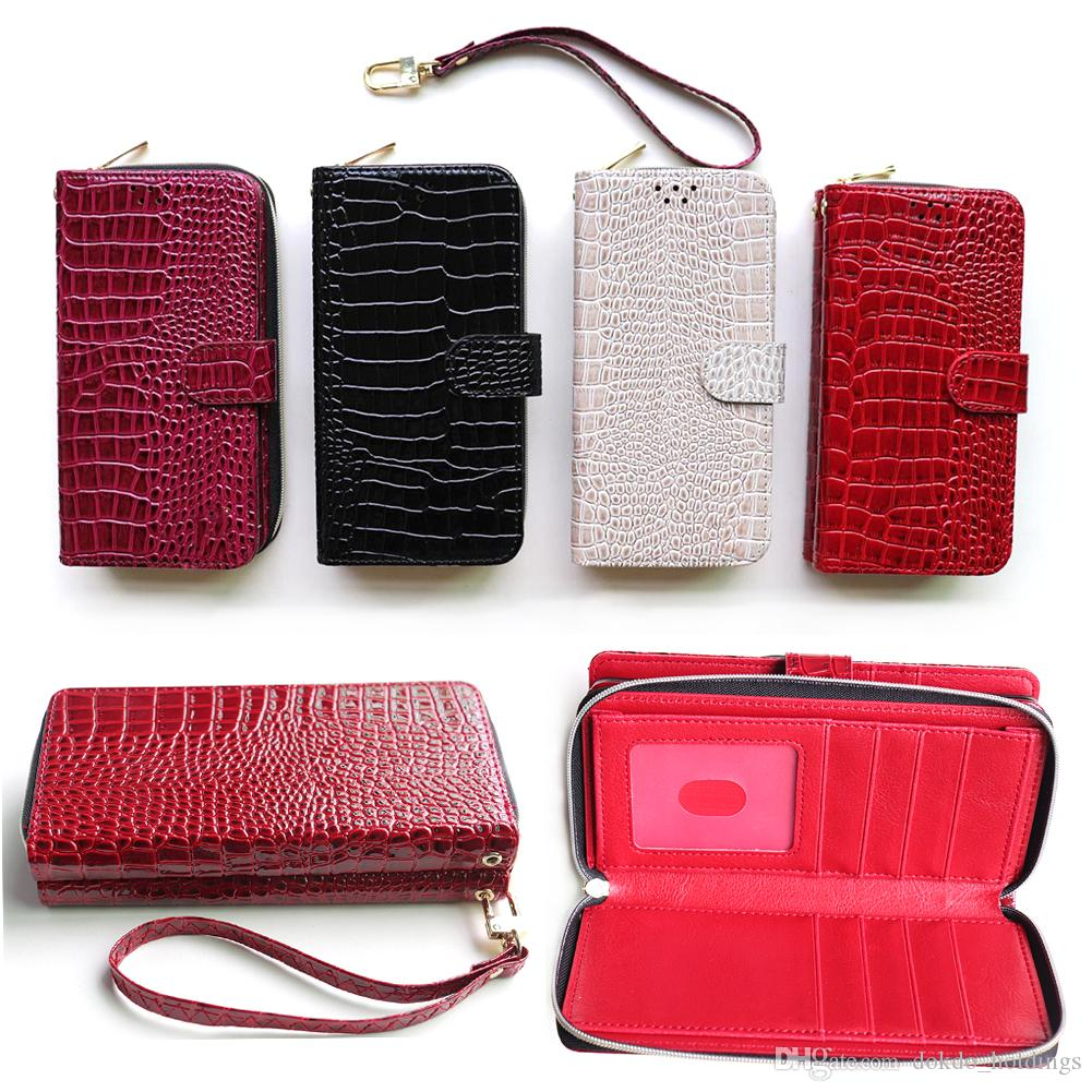 new product fd6a8 2db1d Customized Crocodile PU Wallet Phone Case For Samsung Note 9/8/7/5 Hot  Selling S7/S7Edge/S8/S8/S9 Card Slots Flip Wallet For Samsung S9 Plus