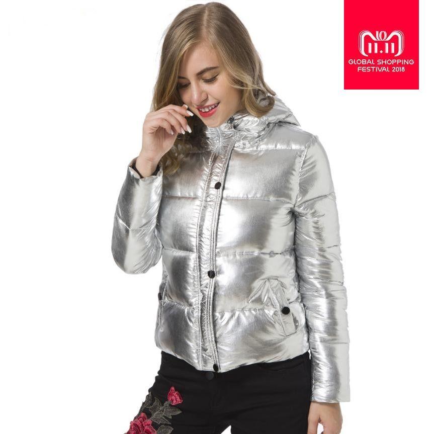 Winterjas Dames Winter 2019.2019 2018 Winter Fashion Women Jackets Warm Metal Coat Silvery Color