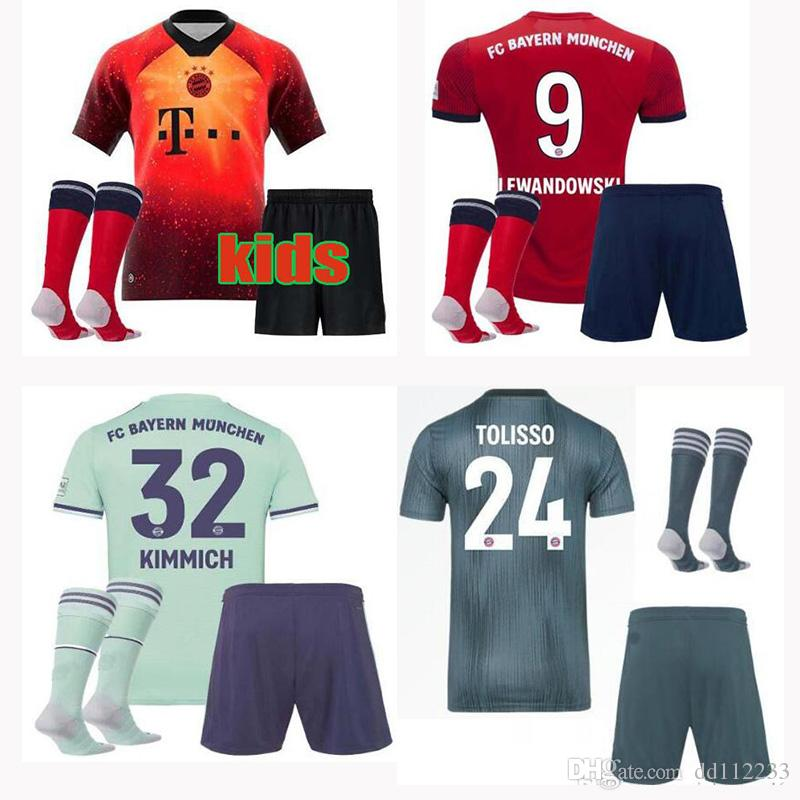 promo code a9339 f80a6 2019 2020 Bayern Munich EA Sports Kids Kit Soccer Jerseys MULLER HUMMELS  VIDAL LEWANDOWSKI ROBBEN TOLISSO JAMES 2019 youth Football uniform