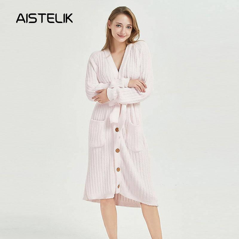 2019 New Autumn And Winter Ladies Pajamas Creative Design Button Knit  Pajamas Belts Home Service Long Warm Nightdress From Zhaolinshe 52e2d67cf