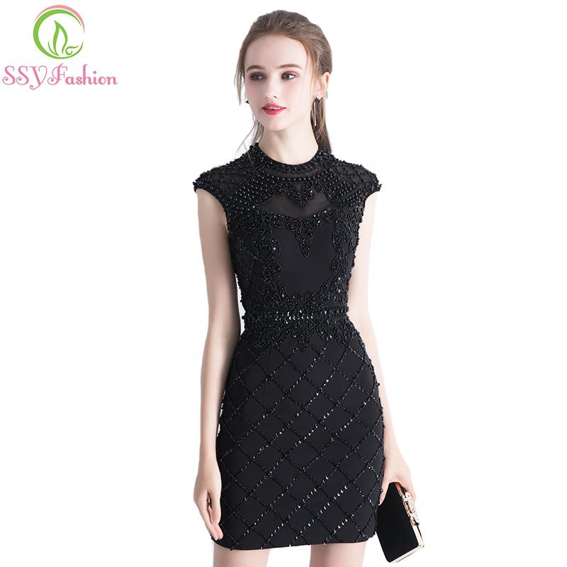 dd42edc20a 2019 SSYFashion New Luxury Black Short Cocktial Dress Lace With Beading  Silm Sexy Backless Banquet Formal Party Gown Robe De Soiree C18122201 From  ...
