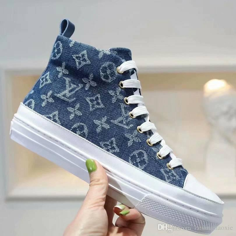 Branded Women Letter Printed Canvas Stellar Ankle Sneaker Boot Designer Lady Side zip Rubber Outsole Flat Heel Shoes With Box