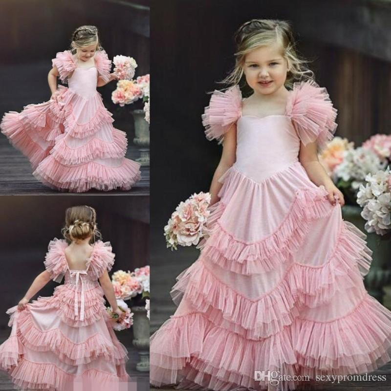 Pink Princess Girls Pageant Gowns 2019 Ruffles Tulle Tiered Flower Girl  Dresses For Wedding Baby Birthday Party Dress Custom Made