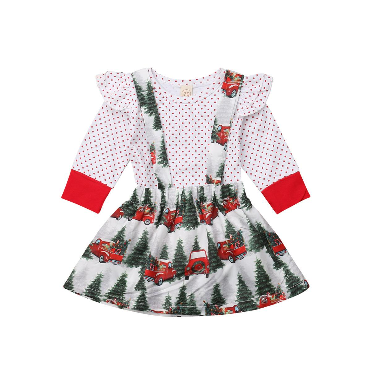 30eb6ea3723 2019 Newborn Kids Baby Girl Christmas Long Sleeve Romper Polka Dot Tops  Suspender Overall Dress Outfit Clothes Set From Ycqz3
