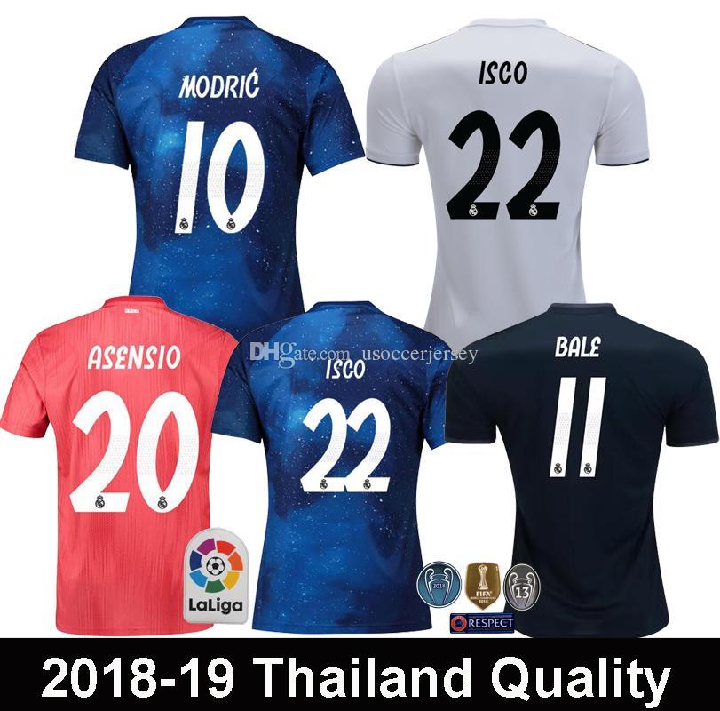 2018 2019 Real Madrid EA Sports MODRIC ASENSIO ISCO Camisetas De Fútbol  BALE SERGIO RAMOS MARCELO Real Madrid Versión Especial Camiseta De Fútbol  Azul Por ... 3be2f06a0adec