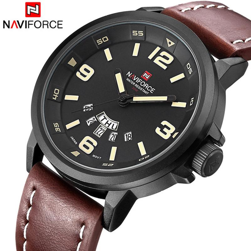 10b083f6c NAVIFORCE Luxury Brand Fashion Men Sports Watches Men'S Quartz Date Clock  Man Leather Strap Army Waterproof Wrist Watch Best Wristwatches Buy  Wristwatches ...