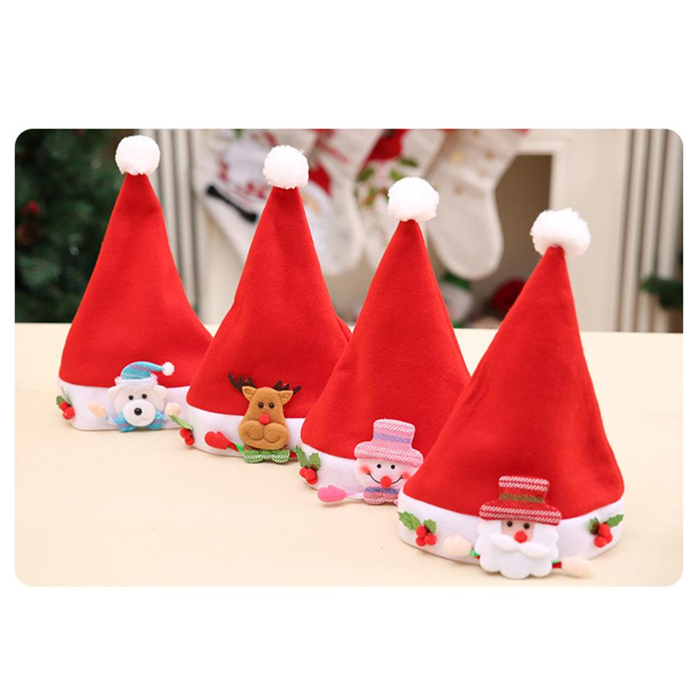 Hot Sale Kid Cheer Christmas Hat Children Santa Claus Reindeer Snowman Bear Santa Claus Xmas Party Cap P20