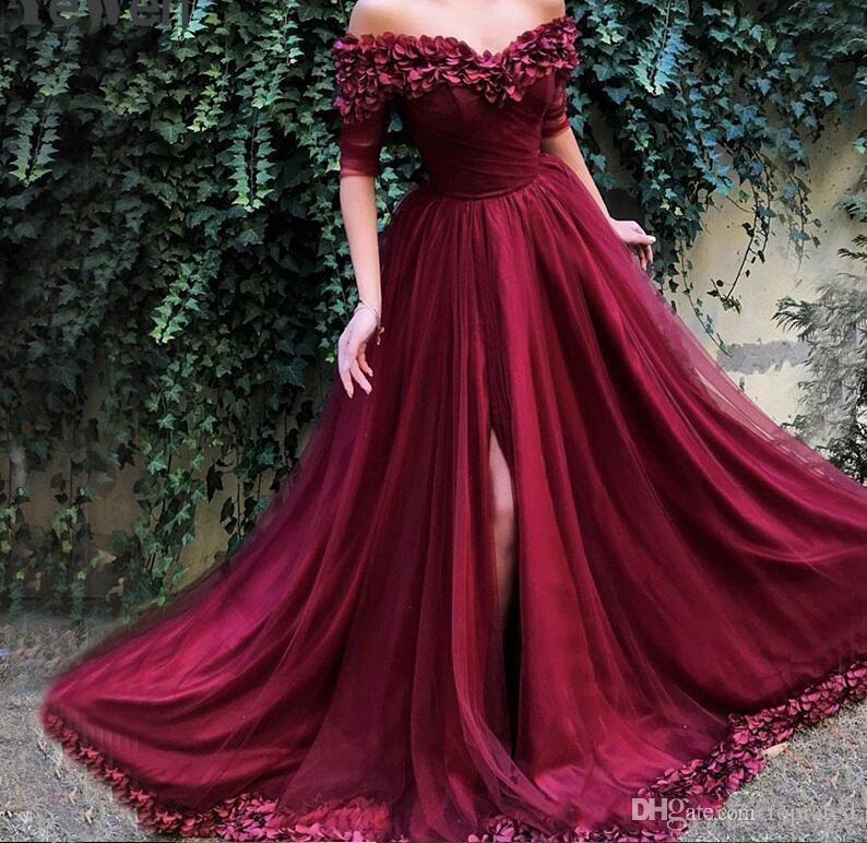 e43ef94e1bdc 2019 Sexy Off Shoulder Wine Red Prom Dresses Half Sleeves Simple Sexy Beach  Evening Gowns Off Shoulder Printing Long Dress Lavender Prom Dresses Light  Pink ...