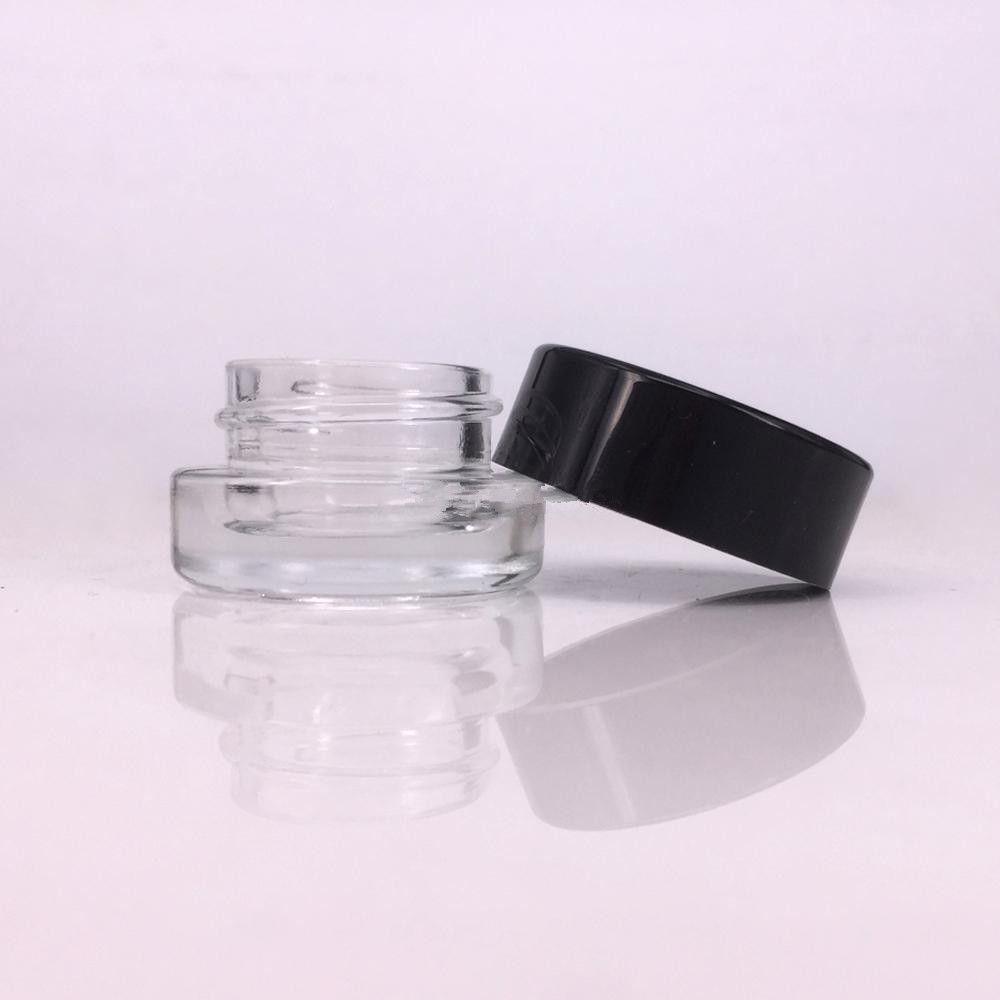 glass stash jar container 3ml 5ml custom logo fot dab rig wax vape pen  rosin case mini small cosmetic jar with black lid