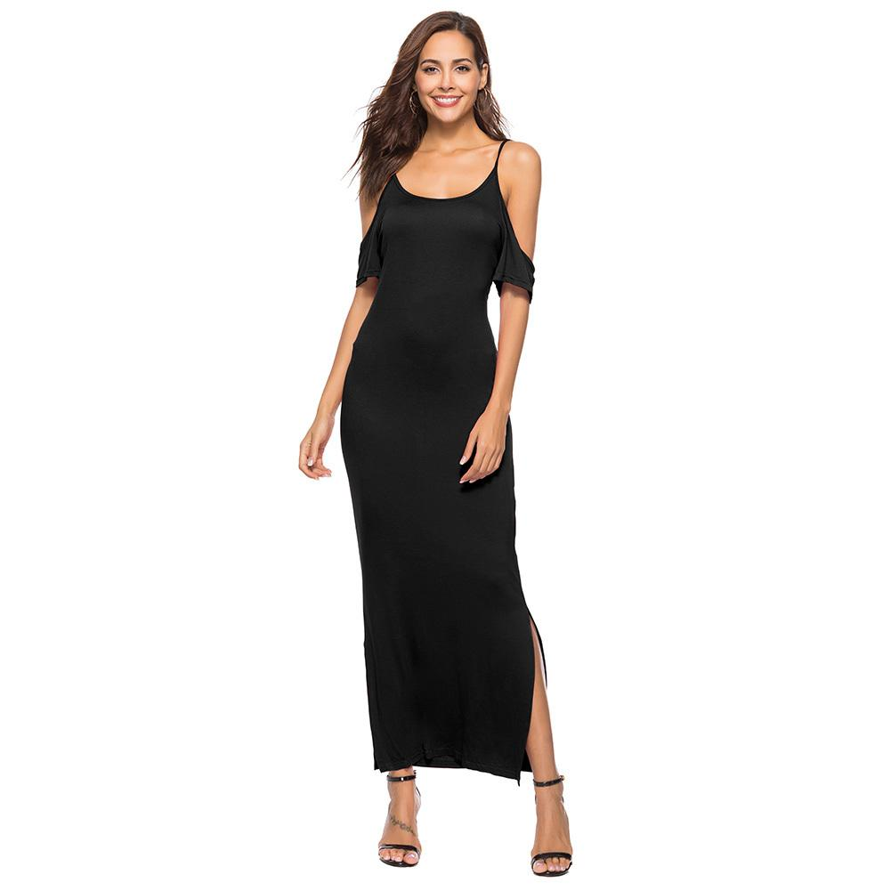 6975d49a52 Women Cold Shoulder Long Dress Spaghetti Straps Slit Sides Casual Sexy Soft  Comfortable Dress Boho Solid Loose Maxi Dress 2019 Black And White Dresses  ...