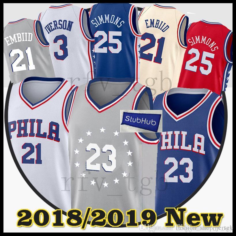 e20a2013c 2019 Iverson Men 25 Ben Simmons Philadelphia 23 Jimmy Butler 76ers Jerseys  17 J.J. Redick 21 Joel Embiid Jersey 3 Allen Iverson From  Fashion shop jersey