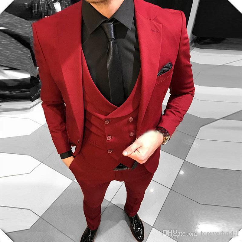 2019 Men's Red Notched Lapel Wedding Suits Evening Party Prom Bridegroom Custom Made Slim Fit Casual Three Pieces Best Man Tuxedos