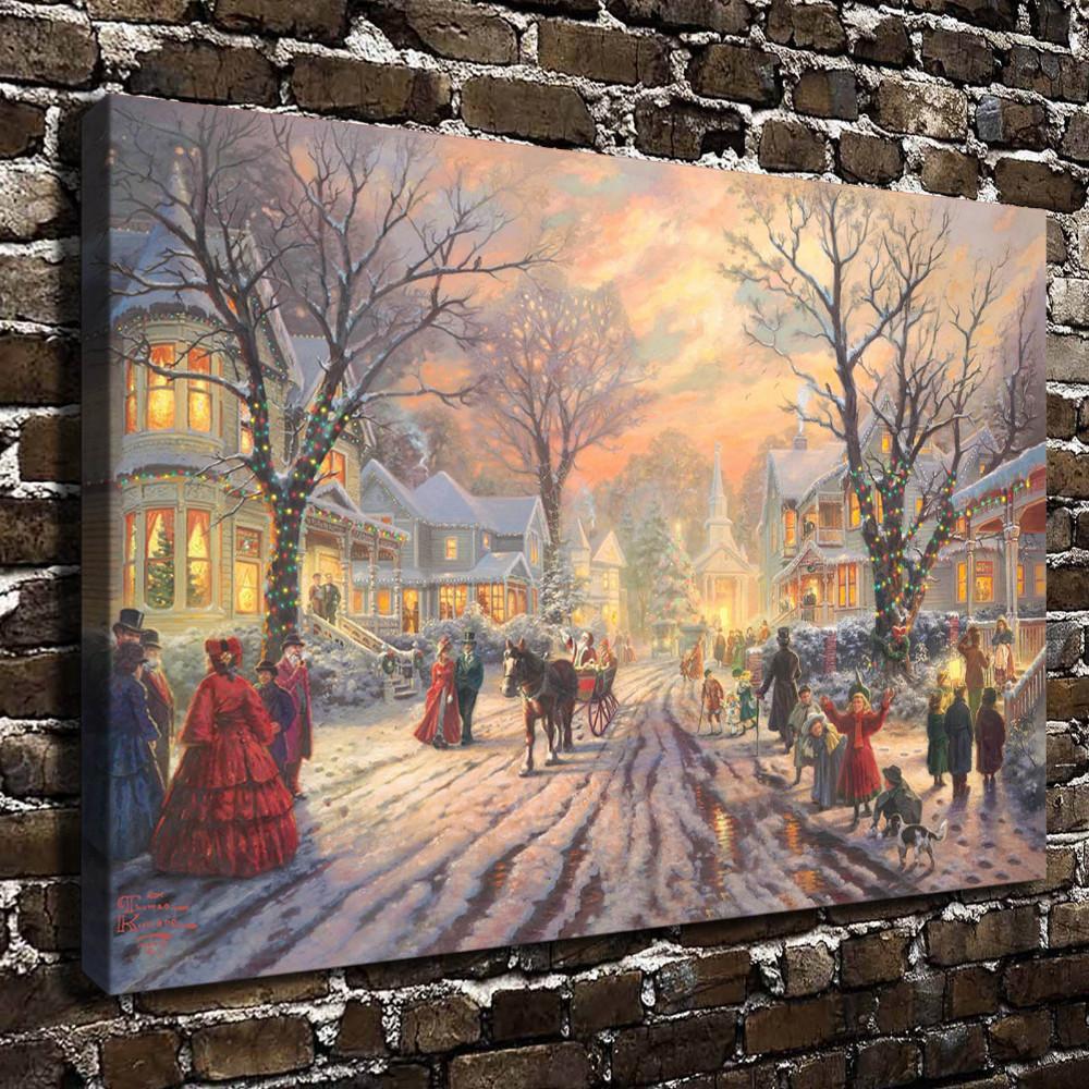 Immagini Natale Vittoriano.Acquista Thomas Kinkade Carol Di Natale Vittoriano Stampe Su Tela