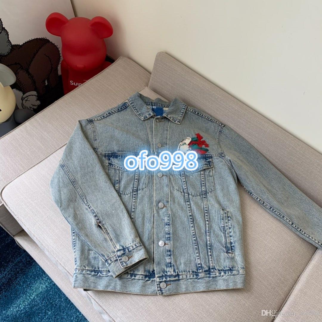 High End Custom Women Fashion coat Denim Jacket For Geometric patterns  embroidery Female Jeans Coats Ladies Jean Tops blue