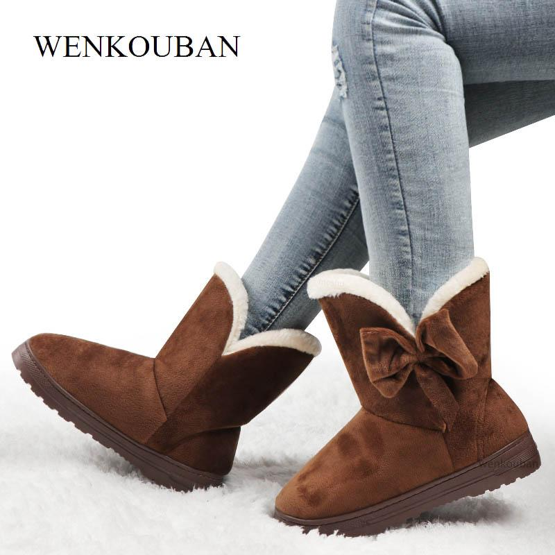 Winter Fur Bowtie Ankle Boots Women Snow Boots Ladies Platform Plush Shoes Warm Butterfly Slip-On Black Botas Mujer Invierno